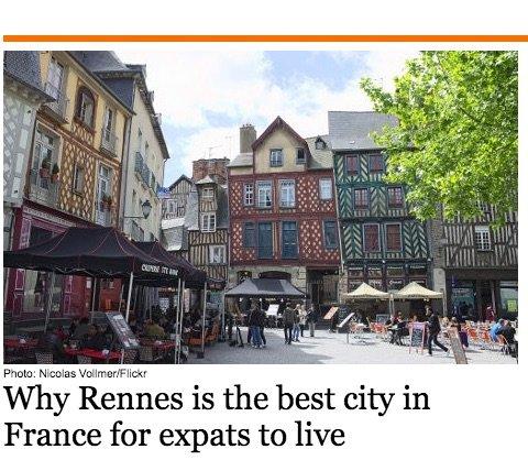 rennes, meilleure ville francaise pour qualité de vie des expatriés