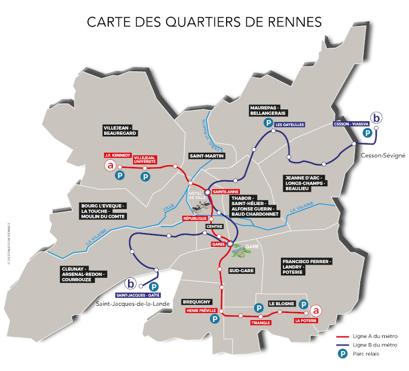 carte des quartiers métro parc relais Rennes